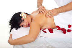 Closeup of woman getting kneading back massage Royalty Free Stock Photo