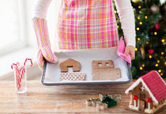 Closeup of woman with gingerbread house on pan Royalty Free Stock Photography