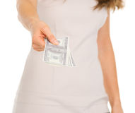 Closeup on woman giving dollars Royalty Free Stock Images