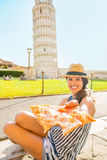 Closeup on woman giving pizza in Pisa Royalty Free Stock Image