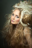 Closeup woman with hair long. Closeup belle woman blond with hairstyle Stock Images