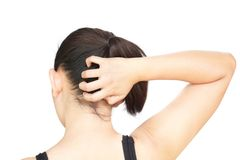 Closeup woman hand itchy scalp, Hair care concept.  stock photo