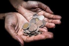 Closeup of Woman hand`s holding Thai coins. Woman hand`s holding Thai coins Stock Image