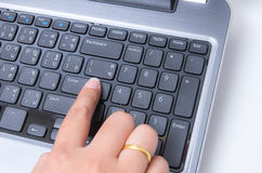 Closeup woman hand touch enter key Stock Photography