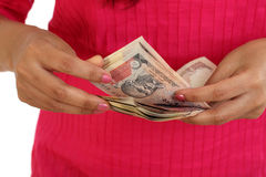 Closeup of woman hands counting money Royalty Free Stock Images