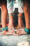 Closeup of woman hands and feet practice yoga Royalty Free Stock Photography