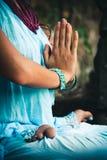 Closeup of woman hands practice yoga outdoor Stock Photography