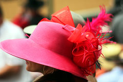 Closeup of woman and hat at the Kentucky Derby Stock Photos