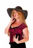 Closeup of woman with hat. Stock Photos