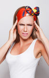 Closeup of a woman having headache Royalty Free Stock Images
