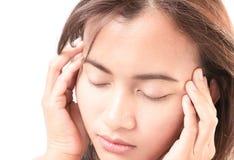 Closeup woman having headache with Royalty Free Stock Photo