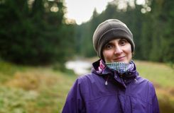 Closeup of a hiker lady. Closeup of a woman hiker with selective focus Stock Images