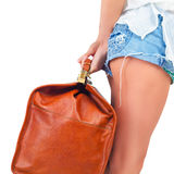 Closeup woman holding hand luggage, weight and baggage dimensions Stock Image