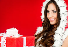 Closeup of a woman holding xmas present Stock Photography