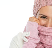 Closeup on woman in knit winter clothing Stock Images