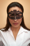 Closeup of a woman in lacy mask Royalty Free Stock Image