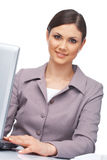 Closeup of a Woman With Laptop Stock Photos
