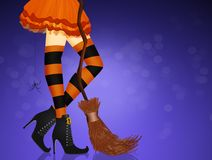 Closeup of woman legs in sexy Halloween witch costume. Illustration of closeup of woman legs in sexy Halloween witch costume Royalty Free Stock Images