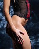 Closeup of a woman in lingerie shot from the side Stock Images