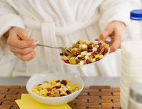Closeup on woman making healthy breakfast Royalty Free Stock Photo