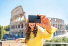 Closeup on woman making selfie in rome Stock Photography