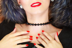 Closeup woman neck with beads Royalty Free Stock Image