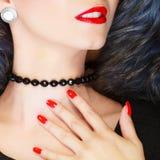 Closeup woman neck with beads Stock Photos