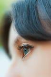 Closeup woman open green eye with eyelash Stock Image