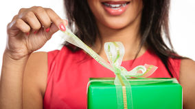 Closeup of woman opening box gift. Christmas. Royalty Free Stock Image