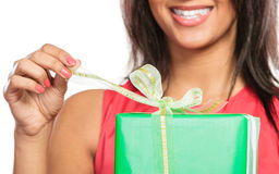 Closeup of woman opening box gift. Christmas. Royalty Free Stock Images