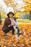 Closeup on  woman playing with dog outdoors in autumn Royalty Free Stock Photography