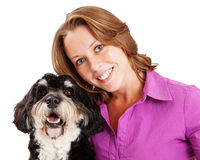Closeup of Woman and Poodle Mix Dog Stock Photography