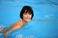 Closeup of woman in pool Stock Photos