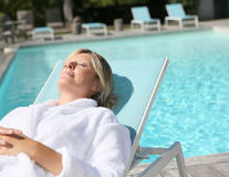 Closeup of woman by pool Royalty Free Stock Photography