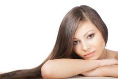 Closeup woman portrait with long hair Stock Photo