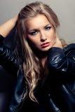 Closeup woman portrait, rock style Stock Images