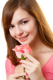 Closeup woman portrait with rose Stock Images