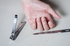 Closeup Woman prepare Cutting her Nails Royalty Free Stock Photo