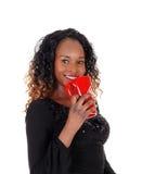 Closeup of woman with red coffee mug. Stock Photography