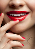 Closeup of woman red  lips Royalty Free Stock Image