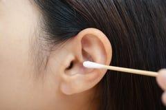Closeup of woman's  ear Stock Photos
