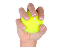 Closeup of woman's hand holding a tennis ball Stock Photography