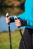 Closeup of woman's hand with nordic walking poles Royalty Free Stock Photo