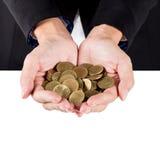 Closeup woman's hands holding world coins, Business woman hands Stock Photo