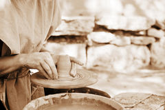 Making pottery (sepia toning) Royalty Free Stock Images