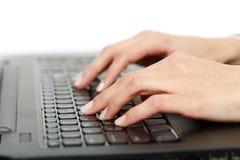 Woman typing on keyboard, closeup Royalty Free Stock Photo