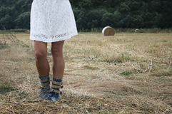 Closeup woman`s legs. Outdoor picture of woman`s legs on a rural path Stock Image