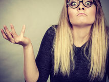 Closeup woman shocked face with eyeglasses Royalty Free Stock Image
