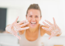 Closeup on woman showing hands with soap foam Royalty Free Stock Images