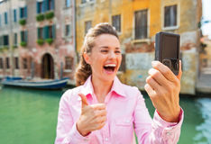Closeup on woman showing thumbs up in venice, ital Royalty Free Stock Photography